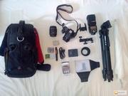 Комплект (Canon EOS 600D,  объективы,  вспышка,  рюкзак,  штатив...)
