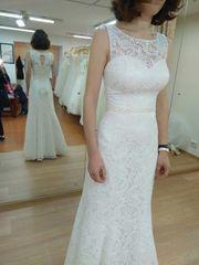 Новое кружевное свадебное платье рыбка с этикеткой из салона